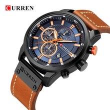 Новые часы Для мужчин Элитный бренд CURREN хронограф Для мужчин спортивные часы Высокое качество кожаный ремешок кварцевые наручные часы Relógio мужской