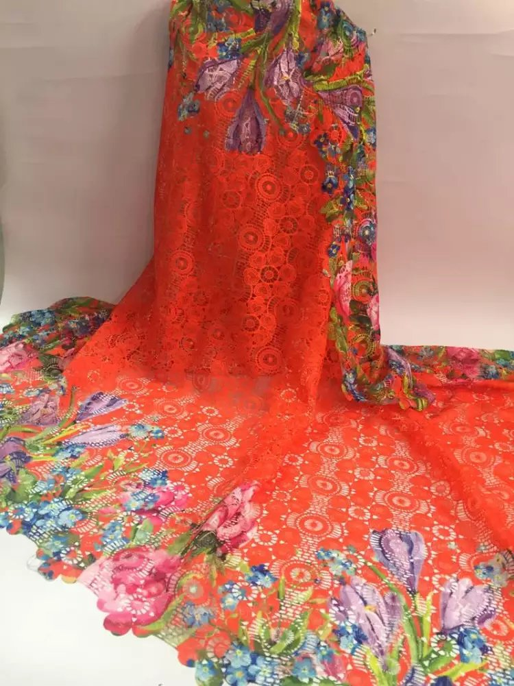 Lower Price with Ny2-6 Wonderful Quality Newest Floral Embroidered Guipure Cord Bridal Lace Fabric 5yds Lot 52 Wide Orange Applique Embroidery Exquisite Craftsmanship; Presley, Elvis