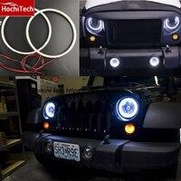 HochiTech Ultra bright SMD white LED angel eyes halo ring kit daytime running light DRL for Jeep Wrangler CJ TJ JK 7'' headlight