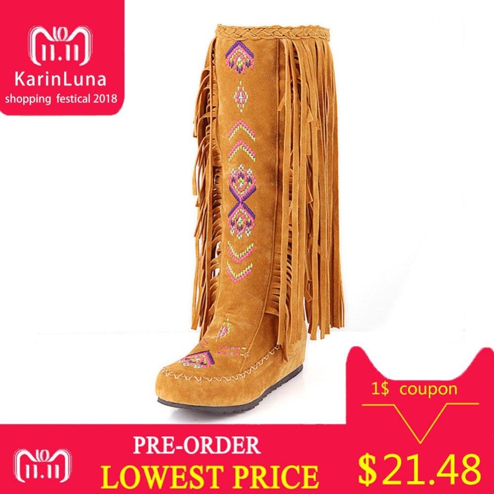 KARINLUNA sólido nuevo aumento de altura flecos zapatos de mujer Casual otoño estilo Bohemia botas media pantorrilla gran tamaño 34- 48
