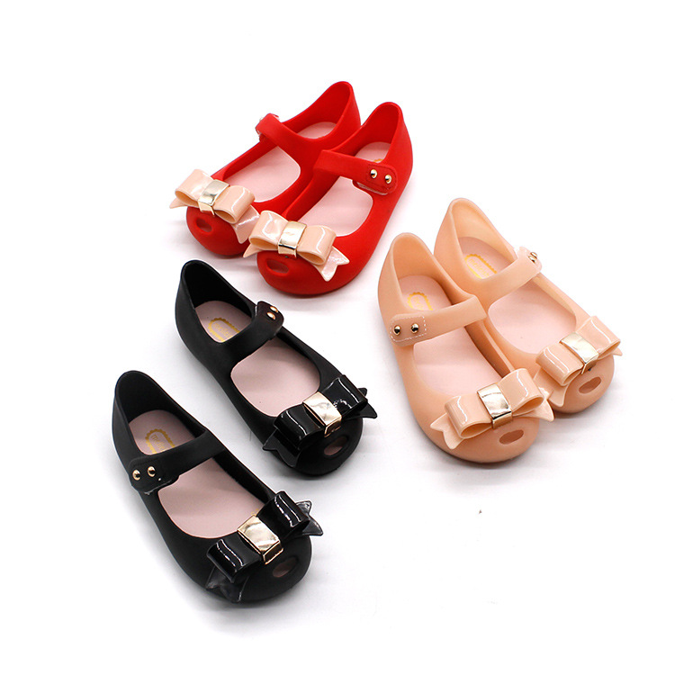 2018 Summer Mini Melissa girls bow Jelly Sandals fashion Children soft Shoes Bows kids anti skid Sandals 14-16.5cm