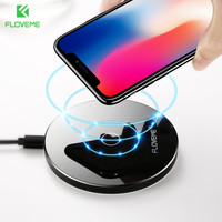 FLOVEME Safe Qi Wireless Charger For IPhone X 10 8 Plus Ultra Thin Wireless Chargers Adapter
