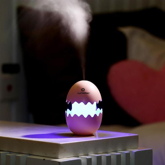 Egg Humidifier Mini USB Air Freshener Purifier Mist Maker For Home School Light-Control Sensor LED Night Light Bedroom Lamp