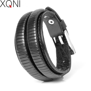 2019 New Fashion Brand Genuine Leather Bracelets For Men Famous Knight Courage Stainless Steel Bandage Charm Bracelets.