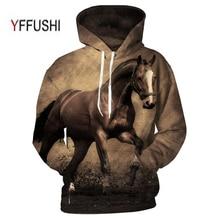 YFFUSHI בעלי החיים מודפס נים 3D גברים נשים סלעית סוודרים סוס הדפסת חולצות מקרית Loose גברים מעיל בתוספת גודל 5XL