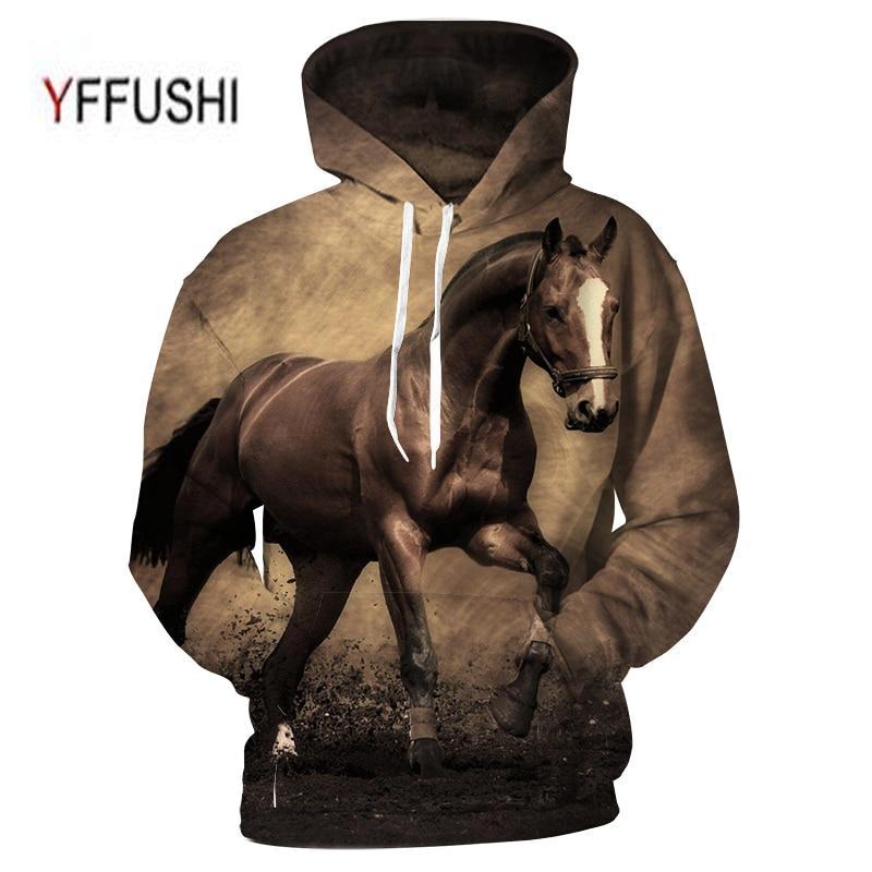 YFFUSHI Animal Printed Hoodies 3D Men Women Hooded Pullover Horse Print Sweatshirts Casual Loose Men Coat Plus Size 5XL