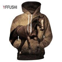 YFFUSHI Animal Printed Hoodies 3D Men Women Hooded Pullover Horse Prin