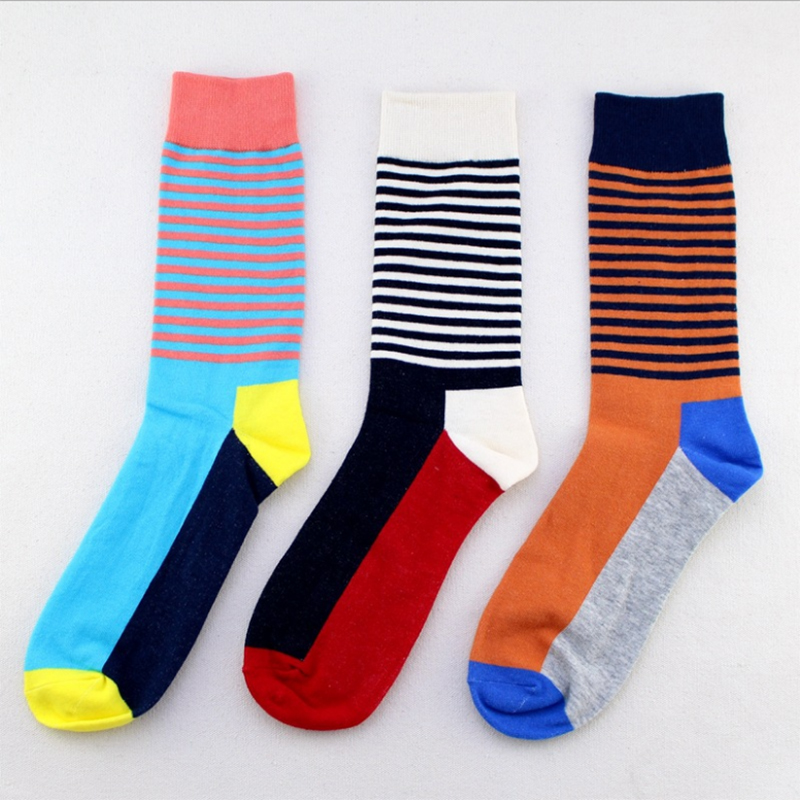 fashion 2018 100% Cotton Crew Mens Socks England Style Color Striped Brand Man Sock For Male Dress Business Men Socks Soft Sexy