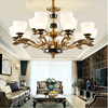 European Luxury Villa Living Room Lamp Simple Atmosphere Jade Restaurant LED Chandelier Antique Copper Bedroom Chandelier