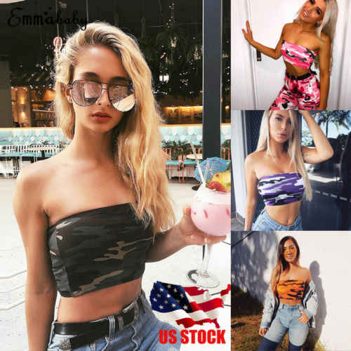 2771a43f811 2018 New Camo Tube Top Sexy Women Off Shoulder Elastic Tops Bra Strapless  Bandeau Lady Fashion