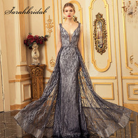 Sarahbridal Wholesale Mermaid Evening Dresses with Detachable Skirt Long Spray Gold Tulle Sequin Maxi Prom Party Gowns L5301
