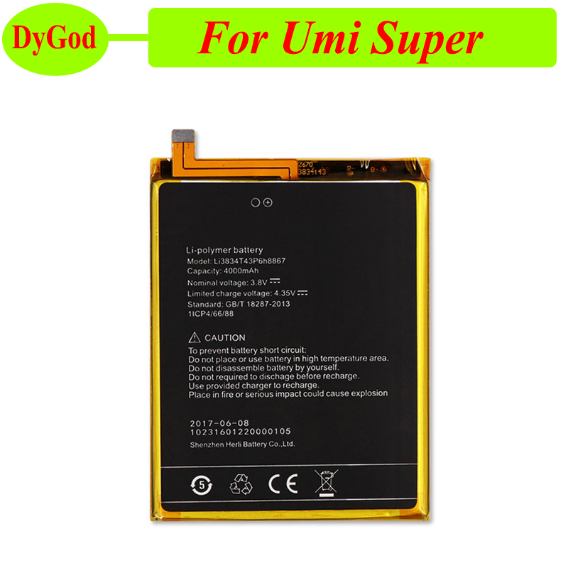 100% New 4000mah For Umi Super Battery Replacement Li3834t43p6h8867 100% Original Capacity Batterie Bateria Accumulator Akku Good Companions For Children As Well As Adults
