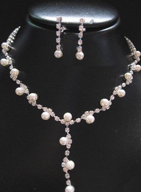 A011 New Fashion Rhinestone Neckace Earrings Jewelry Sets
