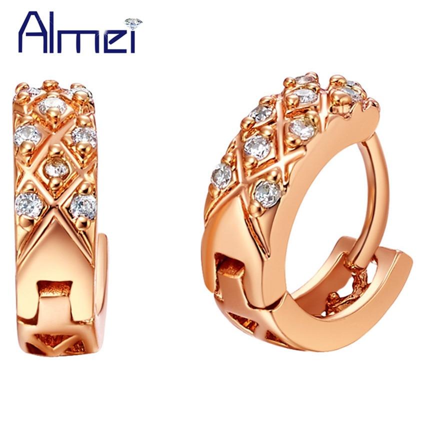 Almei 15%Off 2017 Stud Female Earrings Brinco Retro Jewelery Cubic Zirconia Jewelry Bijoux Vintage Cheap Earrings for Women R565