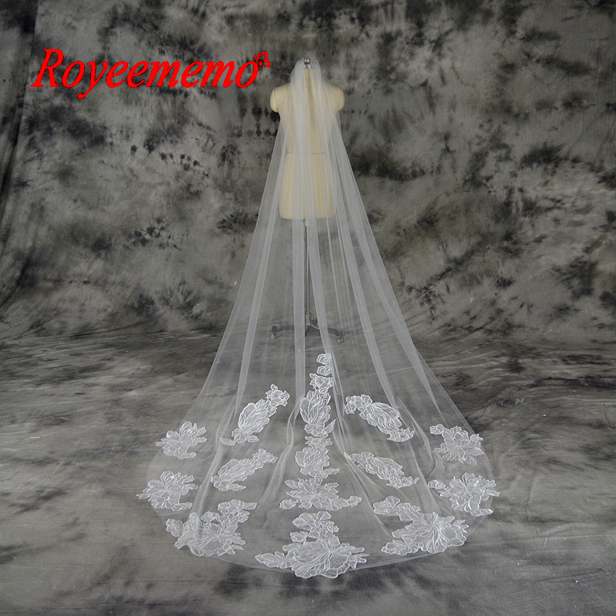 Voile Mariage 3M One Layer Lace White Ivory Catherdal Wedding Veil Long Bridal Veil Cheap Wedding Accessories Veu de Noiva
