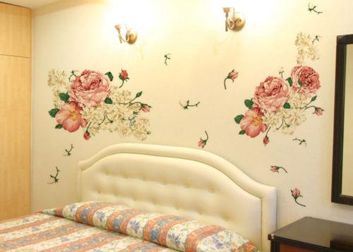 70*50CM Luxury Peony Flowers Wall Stickers Art Home Decor PVC ...