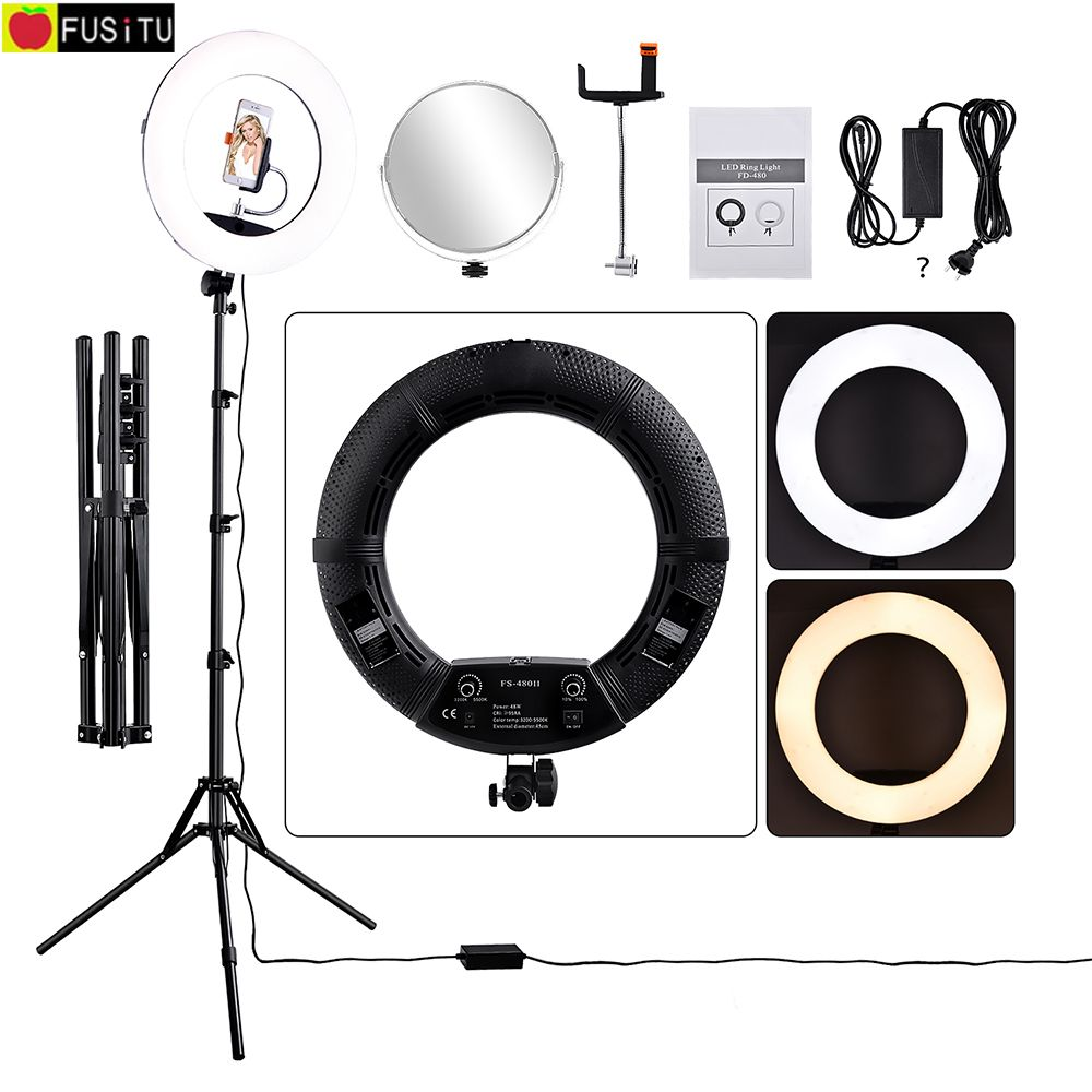 Fusitu FS-480II Camera Photo Studio Phone Video 1855W 480 LED 3200-5500K Bi-color Dimmable Ring Light Lamp &Tripod Stand+Mirror головка ingersoll rand s64m17l ps1