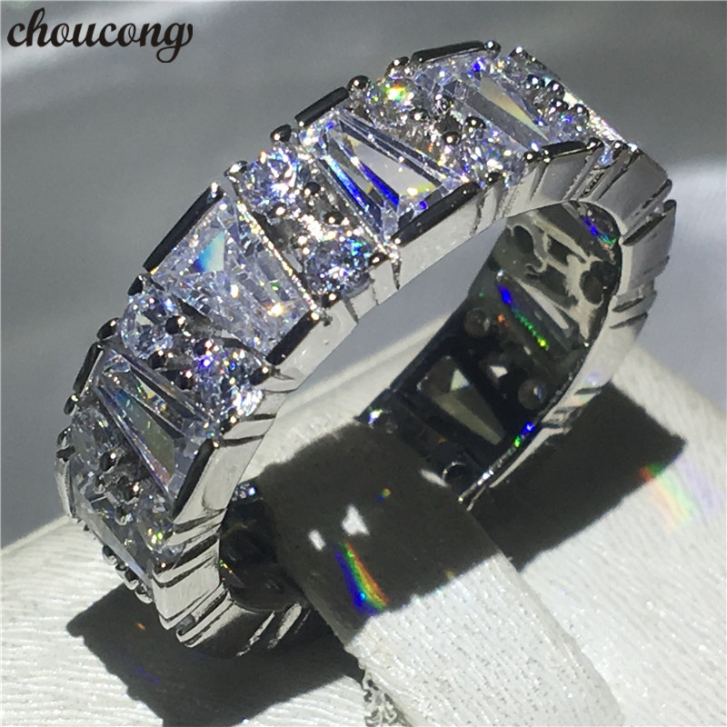 choucong Unique Promise Finger Ring 925 sterling Silver AAAAA Zircon Sona cz Engagement Band Rings For Women men Wedding Jewelry men wedding band cz rings jewelry silver color anillos bague aneis ringen promise couple engagement rings for women