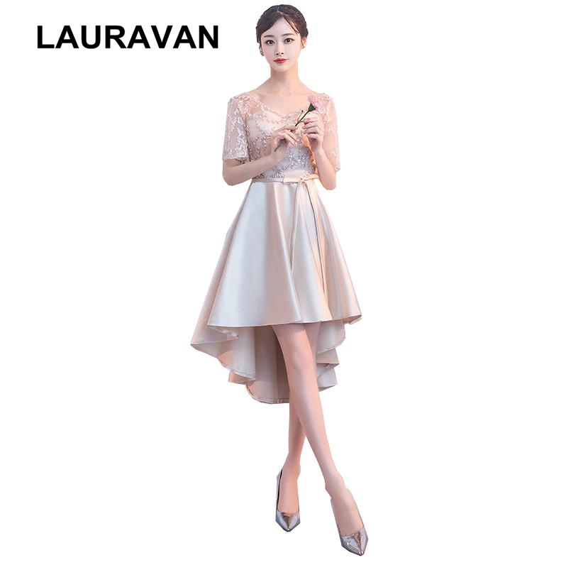 real picture 2019 new fashion elegant champagne lace applique ladies short high low gown formal   cocktail     dress   for girls