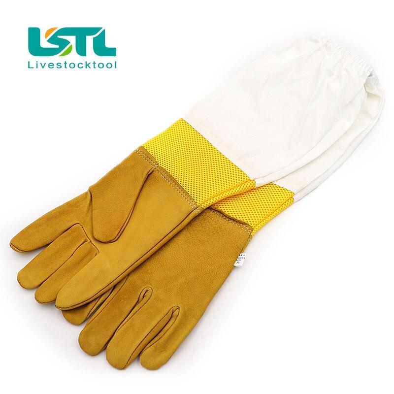 A Pair Bee Gloves Protective Beekeeping Goatskin Keeping Vented Long Sleeves beekeeping equipment and toolsd38