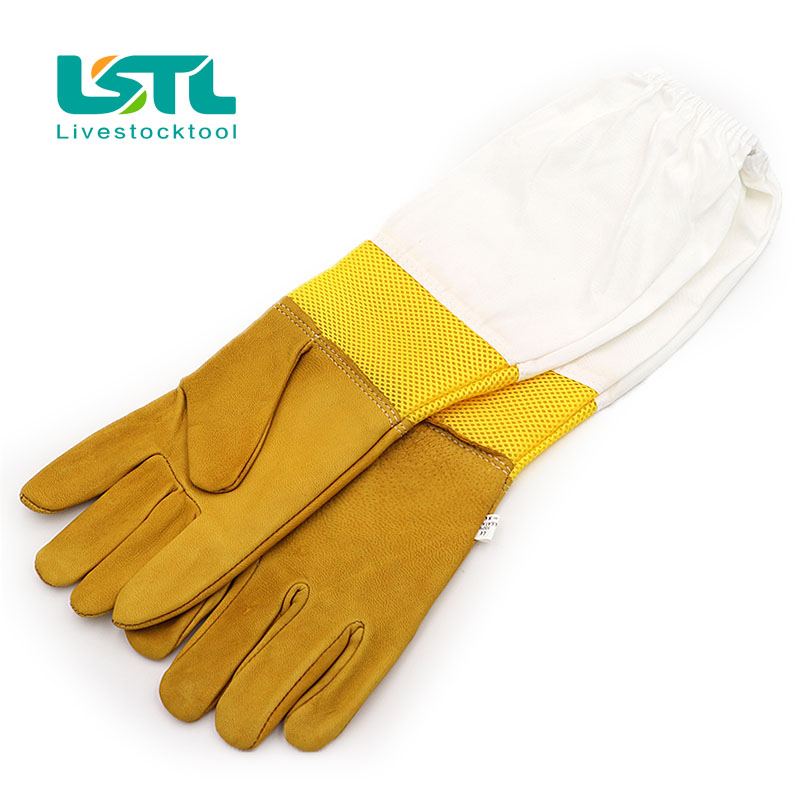 Free Shipping A Pair of Protective Beekeeping Gloves Goatskin Bee Keeping Vented Long Sleeves beekeeping equipment and toolsd38