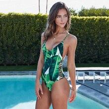 Sexy 1pc One Piece Swimsuit 2017 Trikini Swimwear Women Green Leaf Print Bandage Monokini Thong Triquini Hollow Out Bathing Suit