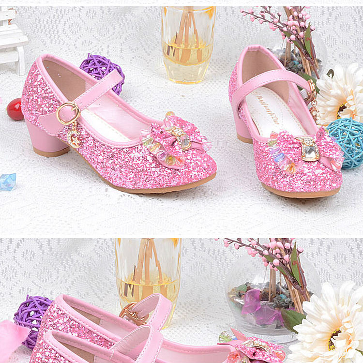 1_062016 spring Kids Girls High Heels For Party Sequined Cloth Blue pink Shoes Ankle Strap Snow Queen Children Girls Pumps Shoes