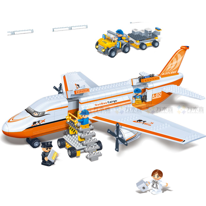 Banbao 8281 Cargo Aircraft Plane Transport 660 pcs Plastic Model Building Block Sets Educational DIY Bricks Toys Christmas gift banbao 8313 290pcs fire fighting ladder truck building block sets educational diy bricks toys christmas kids gift