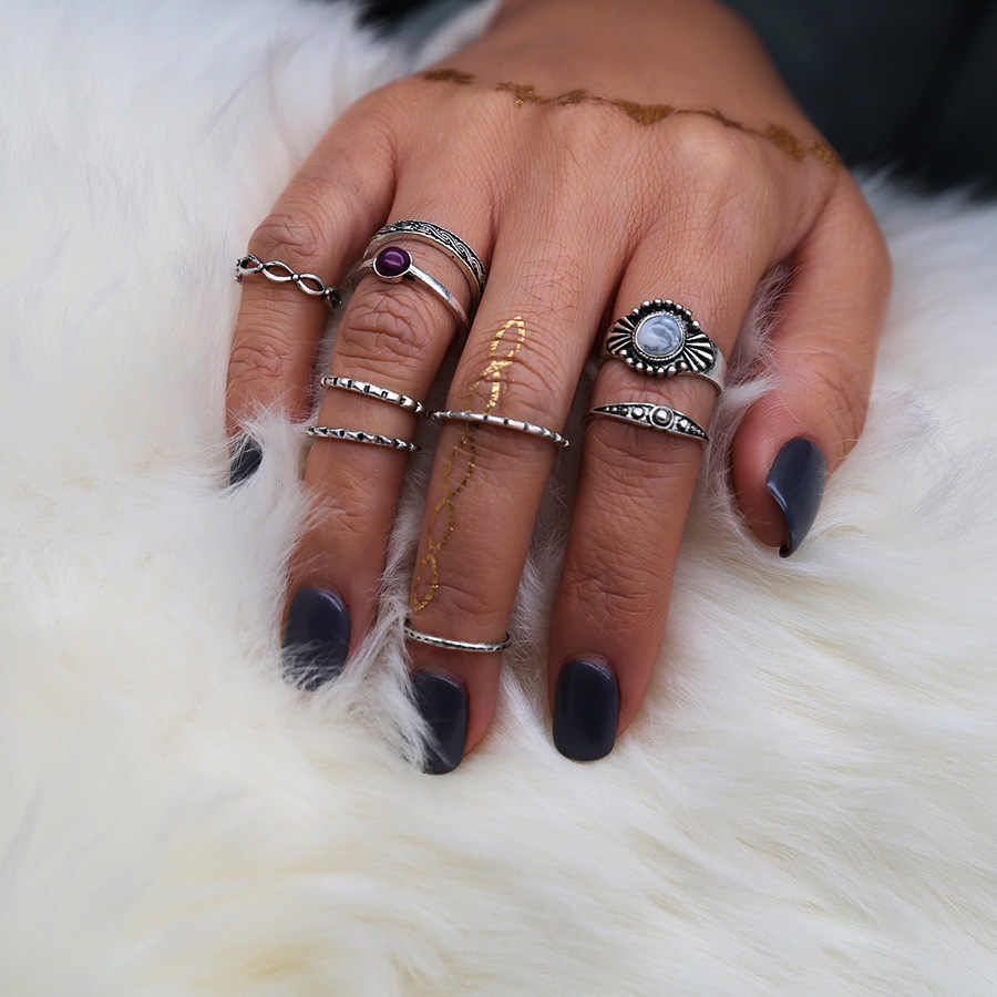 Hollow Moon Sun Star Mix Finger Midi Rings Set Gold Color Knuckle Ring for Women Vintage Boho Steampunk Retro Pattern Jewelry