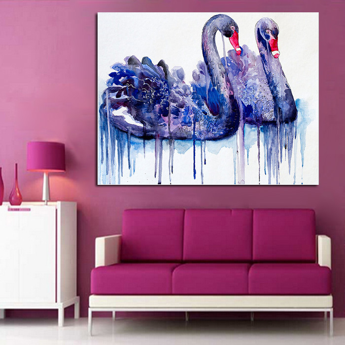 Free Shipping Oil Painting Swan Couple Paintings Wall Art on Canvas ...