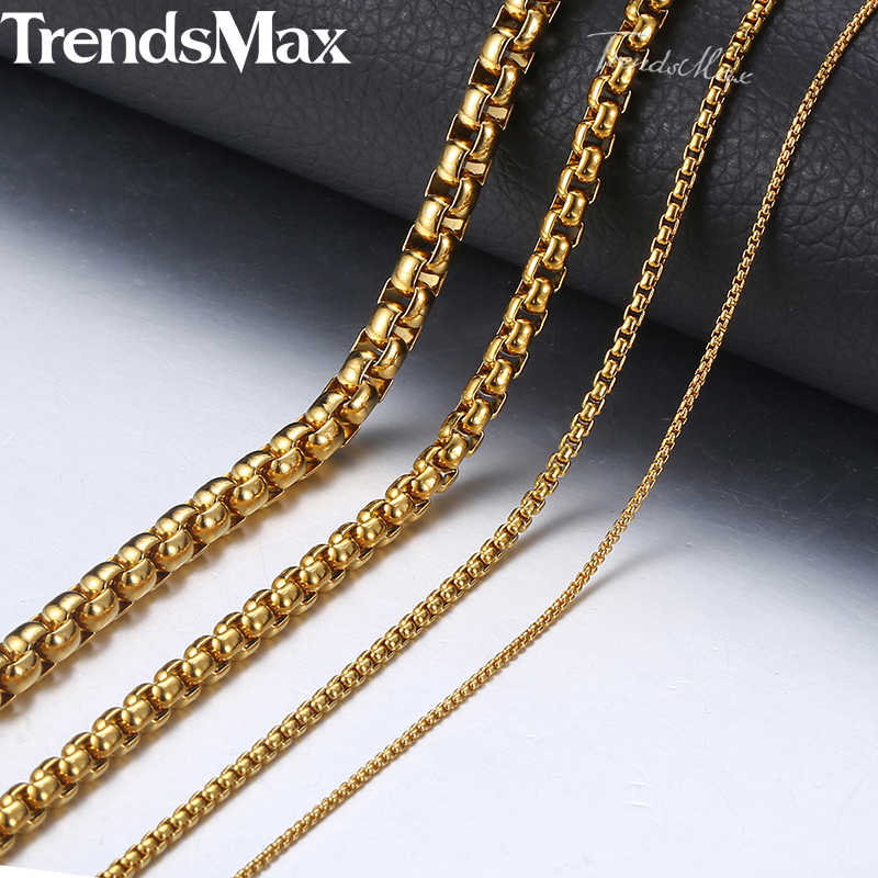 Personalized 2-5mm Box Chain Necklaces For Women Men Gold Color Stainless Steel Necklace 2018 Fashion Jewelry Wholesale KNM128