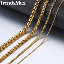 Personalized 2-5mm Box Chain Necklaces For Women Men Gold Color Stainless Steel Necklace 2018 Fashion Jewelry Wholesale KNM128(Hong Kong,China)