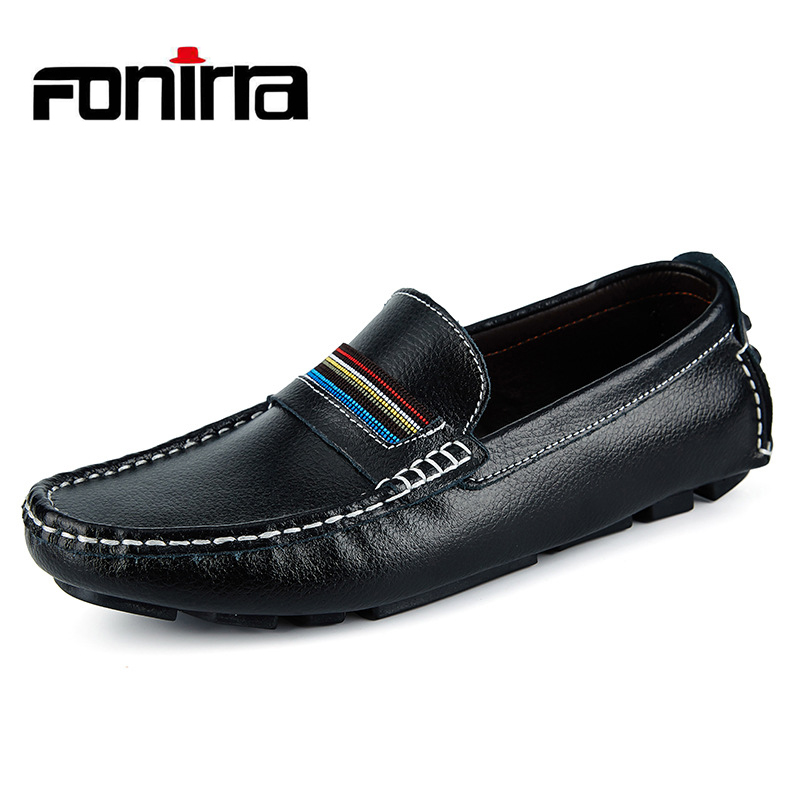 FONIRRA Men Loafers Men Leather Shoes High Quality Men Genuine Leather Shoes Moccasin Chaussure Homme Slipony Man Driving 718 high quality genuine leather loafers men breathable casual shoes soft men flats fashion boat shoes lazy loafers man moccasin 2 5