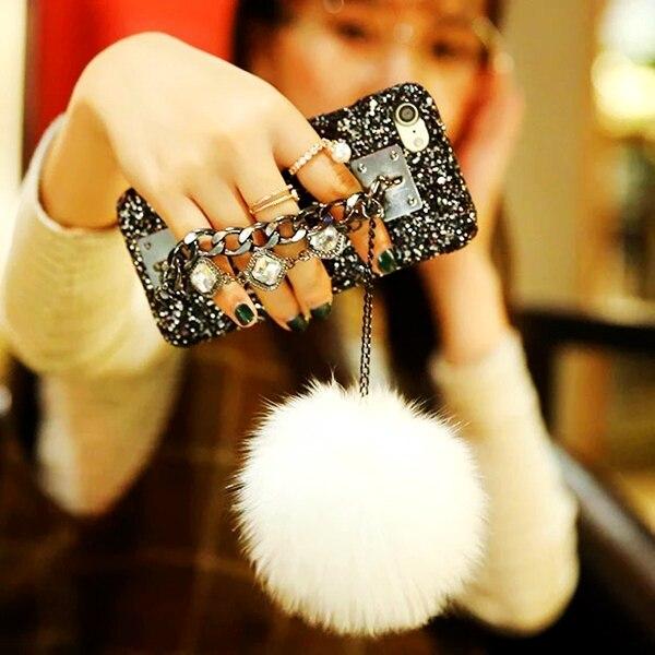 funda carcasa para iphone diamante brillo de estrellas con cadena