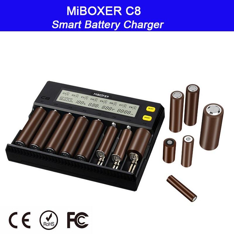 MiBOXER C8 18650 Battery Charger LCD Display 1.5A for Li-ion LiFePO4 Ni-MH Ni-Cd AA 21700 20700 26650 18350 17670 RCR123 18700 цены