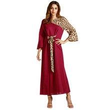 00310cac3 Vestidos de verão Bonito Das Mulheres Muçulmanas Abaya Algodão Sólida Manga  Longa Estampa de Leopardo Médio Oriente Longo Maxi V..