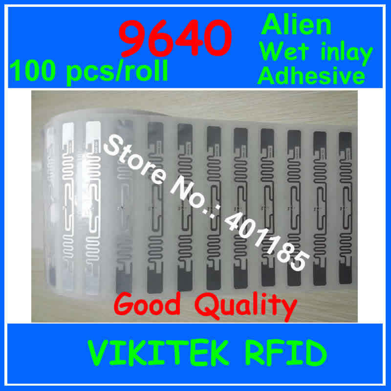 Alien authoried 9640 100pcs per roll glue adhesive UHF RFID wet inlay 860-960MHZ Higgs3 EPC C1G2 ISO18000-6C used RFID tag label uhf rfid passive tags alien 9629 dry inlay 860 960mhz higgs3 epc c1g2 iso18000 6c can be used to rfid tag label 100pcs per roll