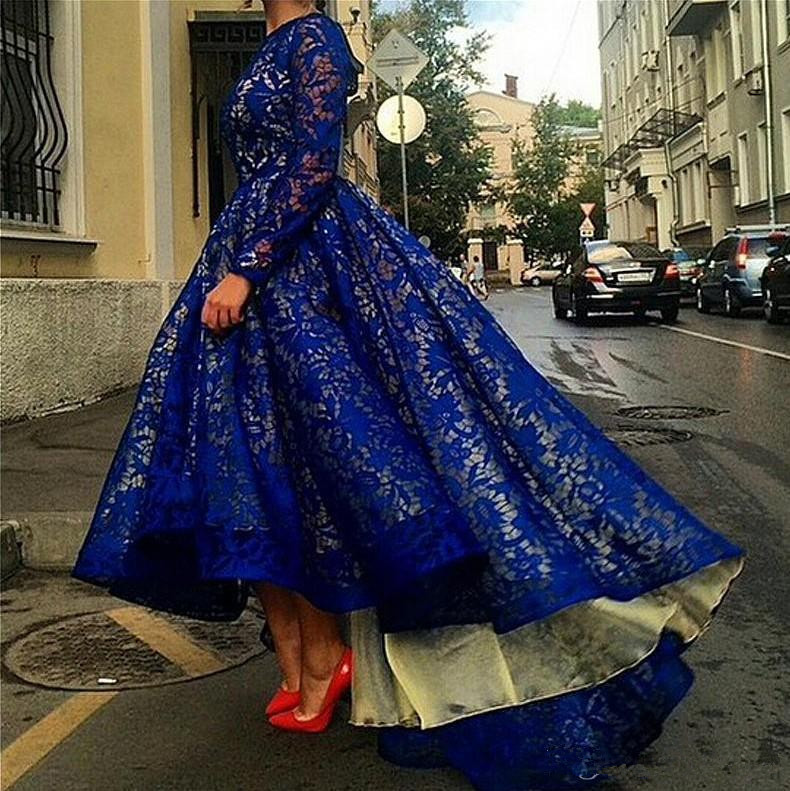 Blue Muslim   Evening     Dresses   2019 Ball Gown Long Sleeves Lace Hi Low Islamic Dubai Saudi Arabic Long Formal   Evening   Gown Prom