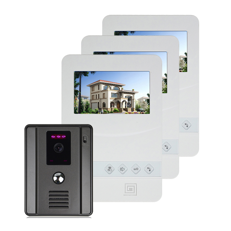Hot Selling 1V3  4 Wired Video Door Phone Doorbell Home Security Intercom System with 700TV Line IR Camera, Free Shipping видеорегистратор mio mivue 788