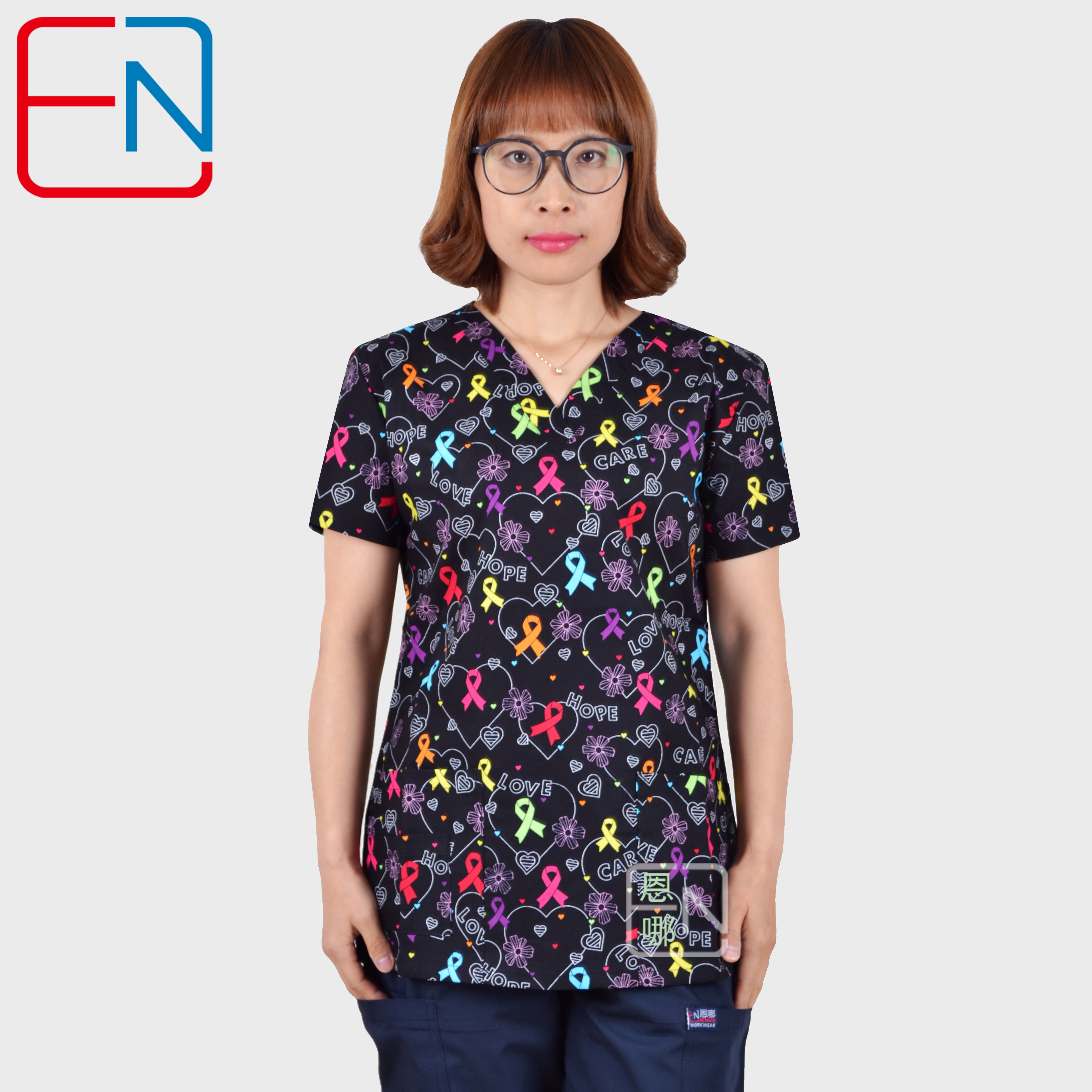Hennar Women Medical Uniforms V-Neck Cartoon Print Clinical Scrub Top Short Sleeve 100% Cotton Hospital Surgical Scrubs Top