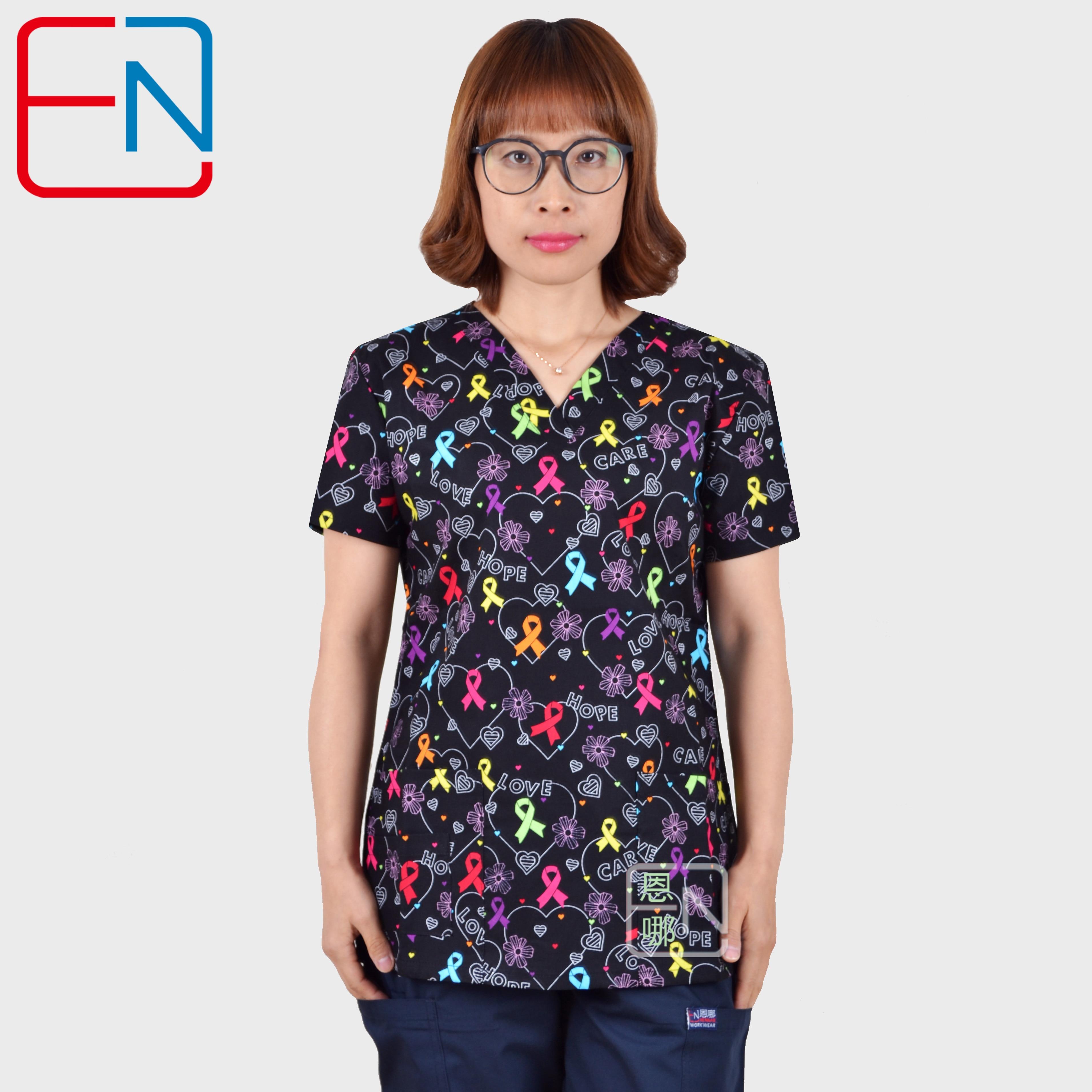 Hennar Women Medical Uniforms V-Neck Cartoon Print Clinical Scrub Top Short Sleeve 100% Cotton Hospital Surgical Scrubs Top