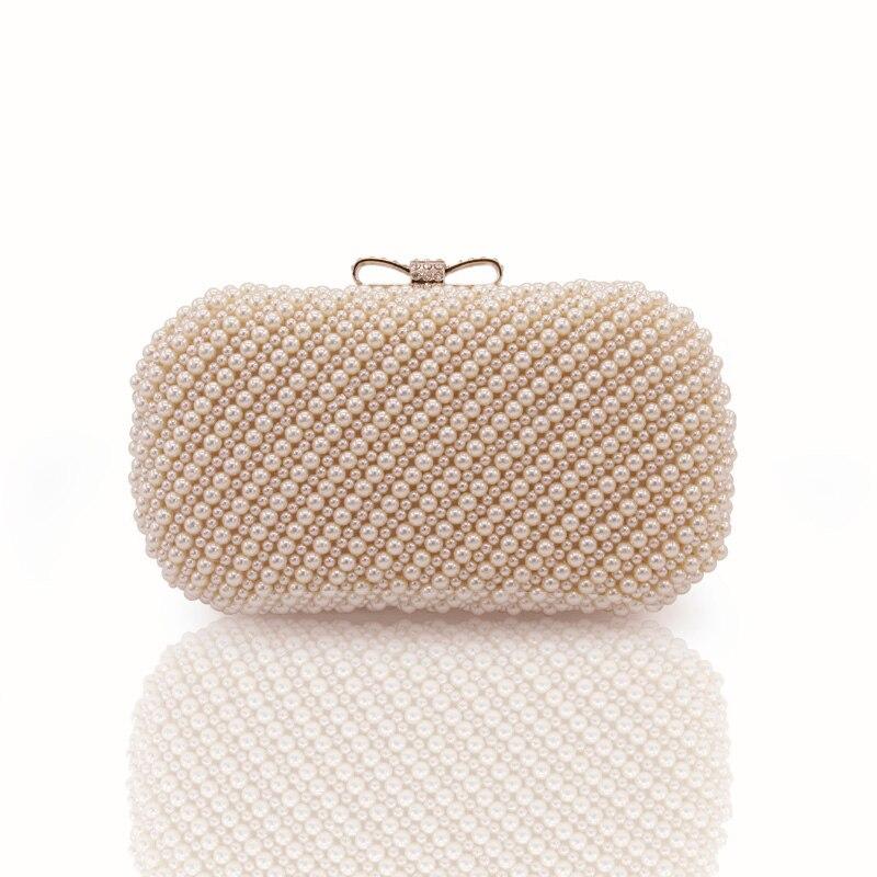 Le 100% fait À La Main De Luxe Perle Embrayage sacs Femmes Sac À Main Diamant Chaîne blanc Sacs de Soirée pour la Partie De Mariage noir Bolsa Feminina