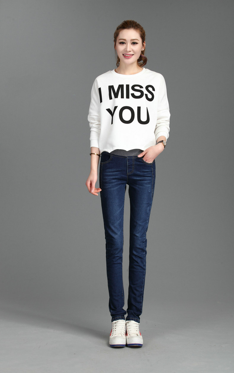 ФОТО 2017 New Spring Ms. Elastic Waist Jeans Female Significantly Thin Feet Pencil Pants Female Trousers Slim Trousers.