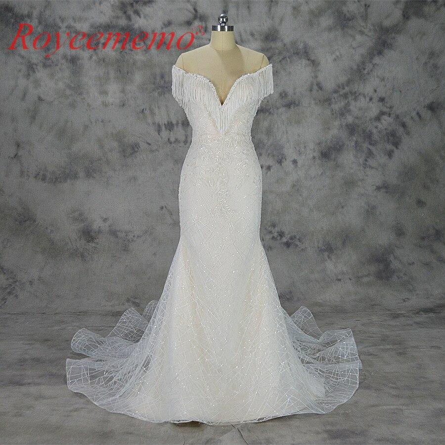 Vestido de Noiva Роскошные кружева дизайн торжественное платье с открытыми плечами кисточкой рукава нарядное платье оптовая цена свадебное плать