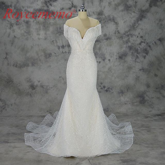 Vestido de Noiva luxury lace design wedding dress off the shoulder ...