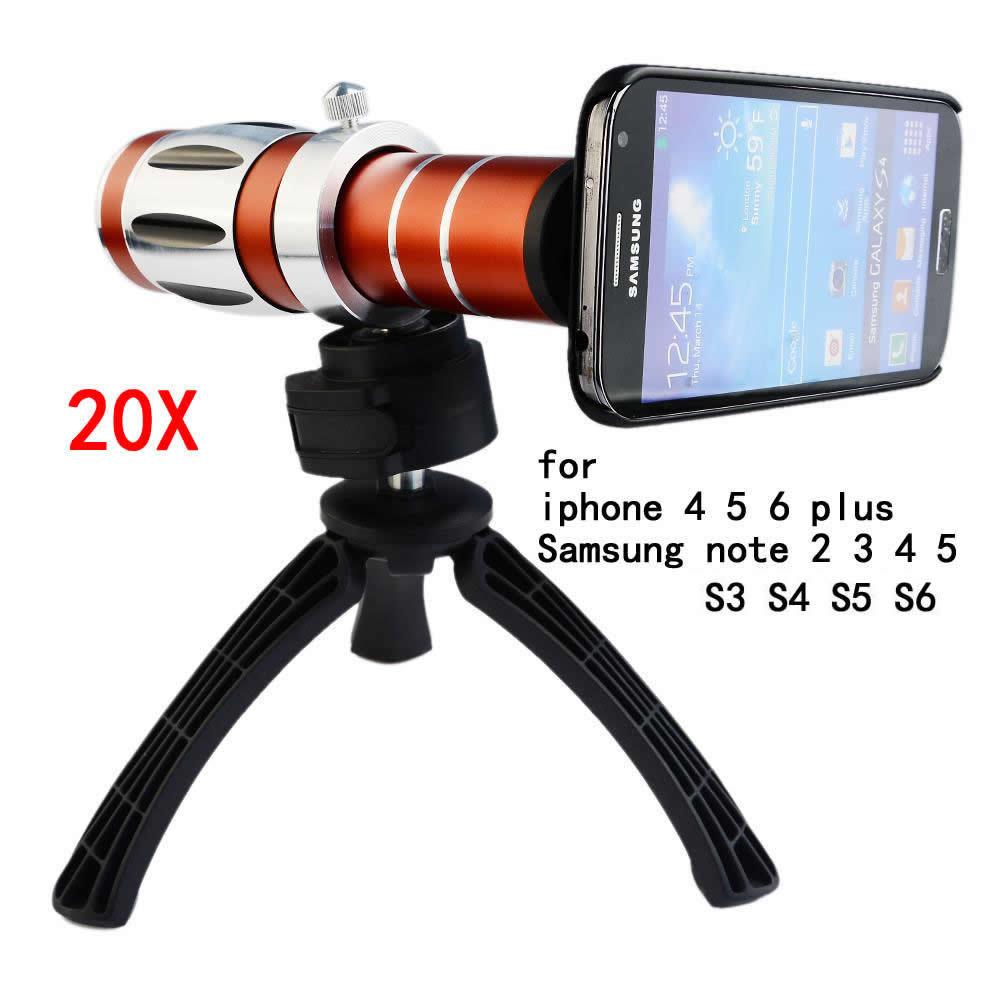 bilder für Handy 20x kamera zoom optische teleskop-teleobjektiv für iphone 5 6 s 6 7 plus für samsung note 4 5 galaxy s5 s7 rand