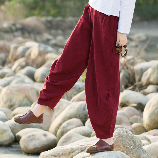 Women Spring Autumn Cotton Linen Pants Casual Vintage Elastic Waist Wide Leg Pants Trousers Solid Dance Long Bloomer Pants