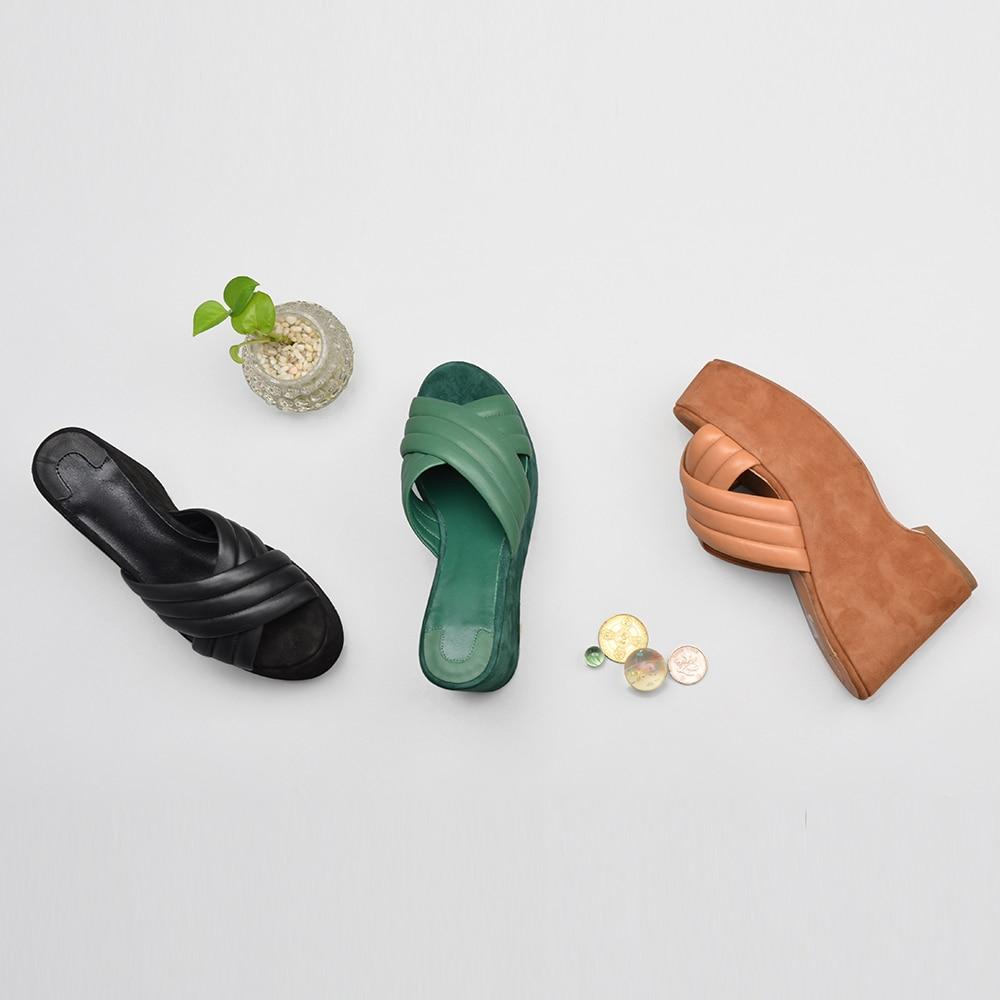 دونا في 2019 جلد طبيعي النساء النعال منصة عالية الكعب أحذية الأزياء الذهبي Blingbling فليب يتخبط أحذية السيدات-في شباشب من أحذية على  مجموعة 3