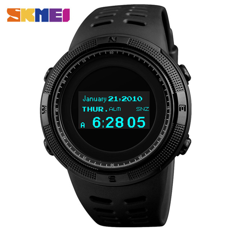 Luxury Pedometer Calories Compass Watch SKMEI Waterproof Sports Watches Men Thermometer Military Digital Wristwatches Relojes 2017 luxury men s oulm watch sport relojes japan double movement square dial compass function military cool stylish wristwatches