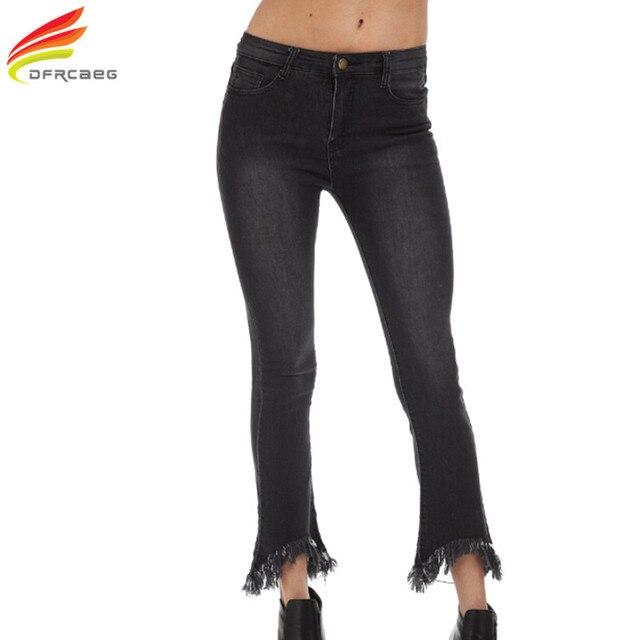 a84869cc4c4ea DFRCAEG 4XL 5XL Plus Size Jeans 2018 New Fashion With Tassel Denim Jeans  Flare Pants European Style Jeans Woman High Waist Jeans